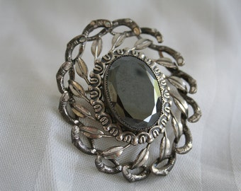 Vintage Danecraft Sterling and Hematite Brooch