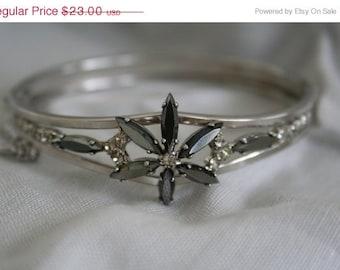 SALE Hinged Bracelet, Vintage Black and Clear Rhinestone