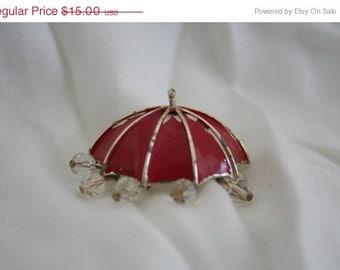 SALE Lisner Enamel Umbrella Brooch Red