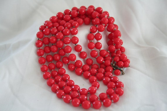 Vintage Multi Strand Red Necklace