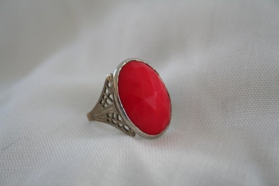 Vintage Red Faceted Ring