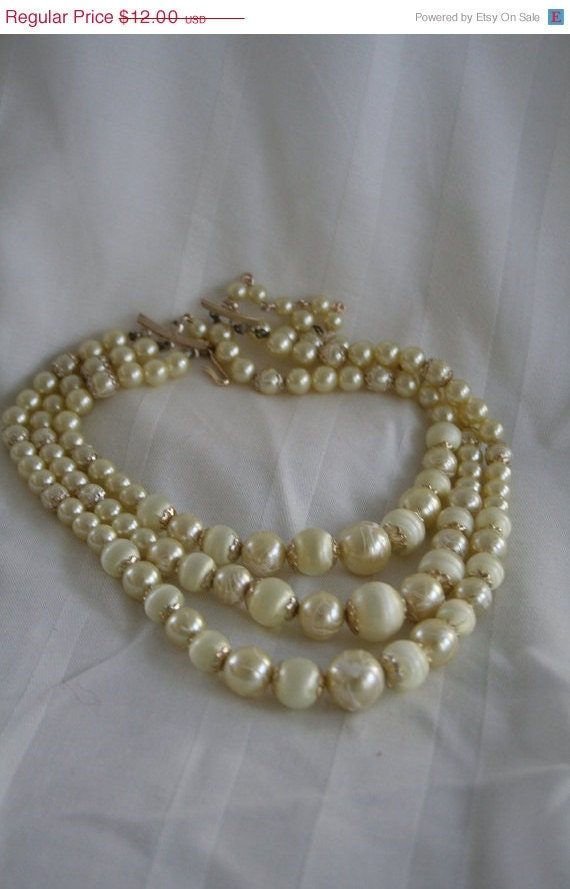 SALE Ivory Colored  Multi-Strand Vintage Necklace