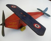 Original 1920s Pressed Metal Lithographed Toy Airplane of Admiral Richard Byrd's Spirit of America