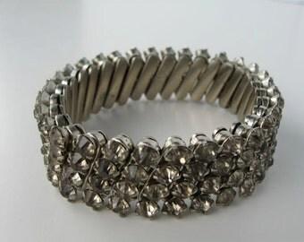 1950s Japanese Rhinestone Flexible Bracelet