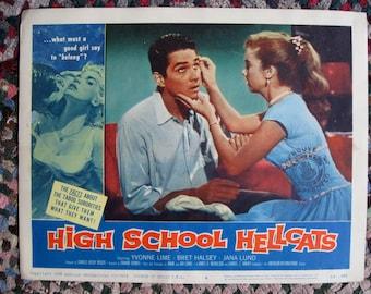 High School Hellcats Original 11x14 Lobby Card from Québec Canada 1958 Rare