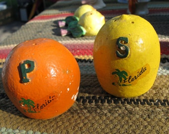 Florida Orange and Lemon Salt and Pepper Plaster Cast Molded Shakers with Tupperware caps - RARE 1950s or 60s