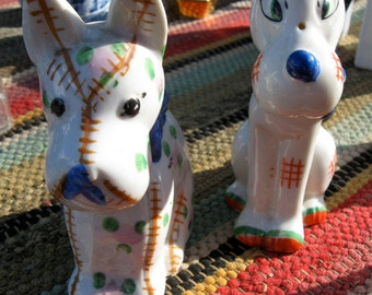 Handpainted Porcelain Dog Figurines Vintage 1950s or 1960s Postwar Japanese 4.5 inches tall Near Mint