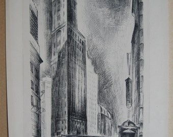 "Adriaan Lubbers ""Broadway at Times Square"". original etching signed in pencil dated 1929"