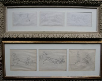 Walt Disney animation drawings original 1930s or 1940s featuring Mickey, Goofy, and Pluto, two framed series of three each