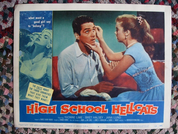 High School Hellcats Original 11x14 Lobby Card from Québec Canada 1958 Rare
