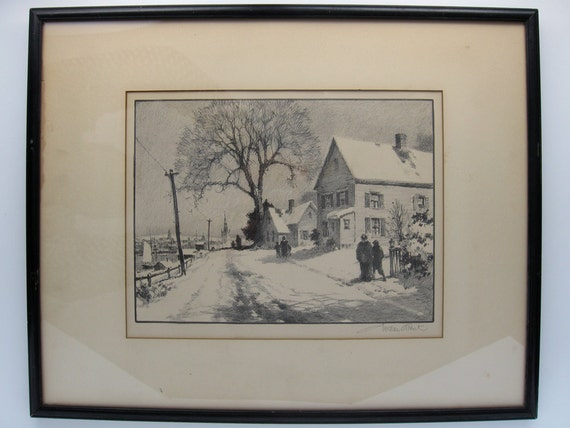 """Gordon Grant original limited edition lithograph """"First Snow"""" 1946 AAA Certified Signed in Pencil"""