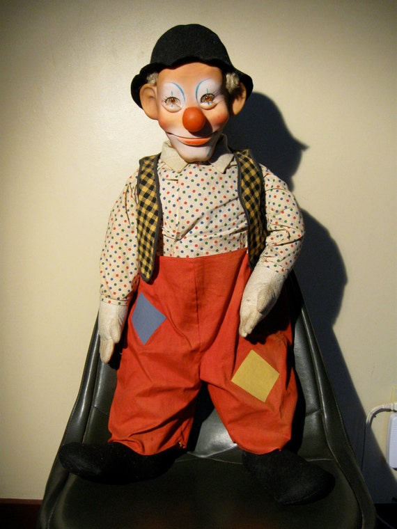 1950s Steiff Clownie Doll wearing clothes identical to Emmett Kelly dolls made by B & B (Baby Barry)  New York City, Vintage 28 inch tall