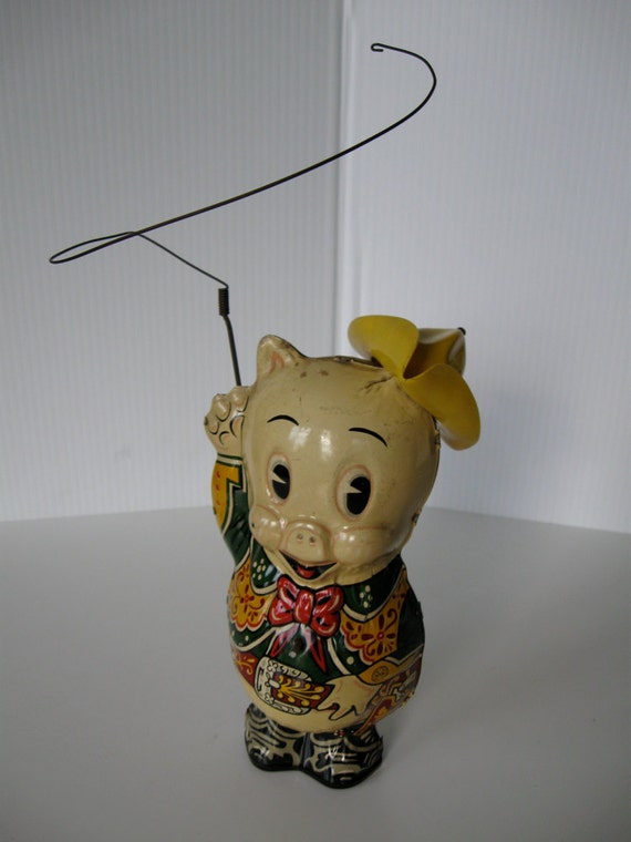 Marx Cowpuncher Porky Pig 1949 metal lithographed windup toy very good to excellent condition, runs great