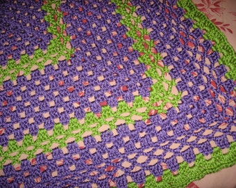 Non-Traditional Baby Afghan in Lavender & Guacamole (Original) (Please Note- Ready to Ship)