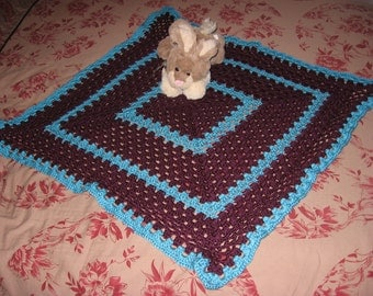 Non-Traditional Baby Afghan in Grape & Turquoise (Original) (Please Note- Ready to Ship)