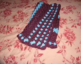 Non-Traditional Baby Afghan in Grape & Turquoise - Variation (Original) (Please Note- Ready to Ship)