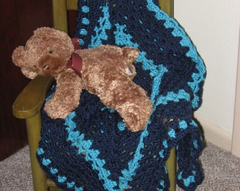 Non-Traditional Baby Afghan in Navy & Turquoise - Variation (Original) (Please Note- Ready to Ship)