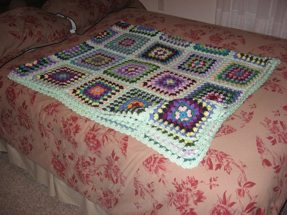 Stained-Glass Granny Square Afghan (Please Note- Ready to Ship)