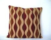 "Pillow with 18"" x 18"" Insert, Caramel Red Decorative Fabric Accent Throw, Ready to use"