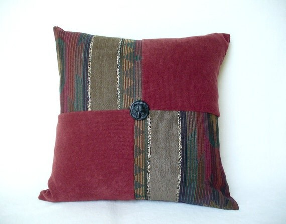 "Pillow Cover, Burgundy and Shades of Gray Decor Fabric, Accent throw, fits 18"" x 18"" Insert"