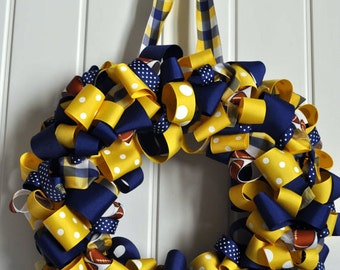 Blue and gold WVU wreath... Let's Go- Other colors available