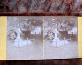 Cemetery Grave Mourning Scene Stereoview Photo Card C.1880