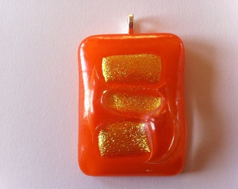 Funky Orange and Gold Fused-Glass Pendant