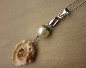 Ivory, Cream and Burnt Orange Spiral Shell and Glass Pearl Pendant with a Little Piece of Filigree