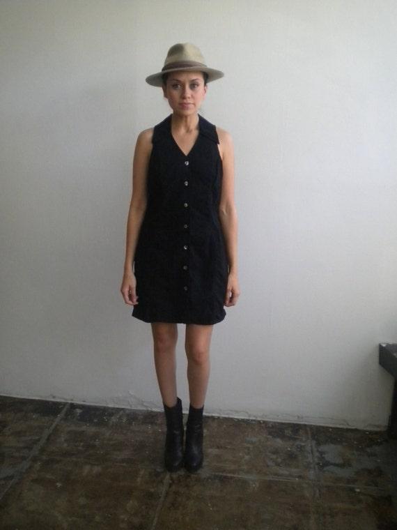 Vintage Black DRESS - denim, collared, spring/summer, button up
