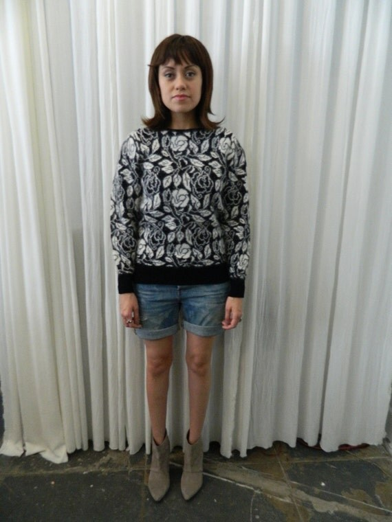 vintage angora SWEATER black and white floral pattern Carducci