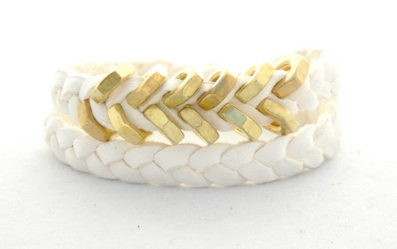 JEWELRY Collection: White Hex Nut Double Wrap Bracelet