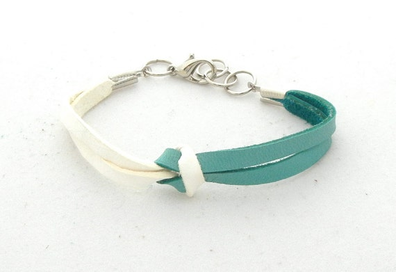 White and Teal Knot Bracelet