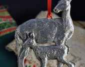 Mother Deer and Fawn Pewter Christmas Ornament Made in USA