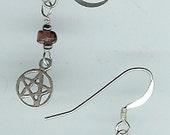 Garnet & Sterling Silver Pentagram Charm