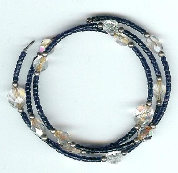 Wire Wrap Glass Beaded Bracelet - Montana Blue and Crystal Glass Fire Polished   FREE SHIPPING