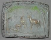 Woodland Deer Stone Sculpture Plaque