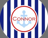 Personalized Melamine Anchor Stripe Plate