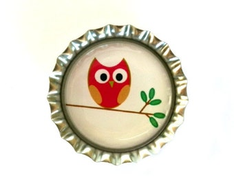 Owl Bottle Cap Magnet - Refrigerator Magnet, Owl Magnet, Bottlecap Decor