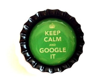 Bottle Cap Magnet - Keep Calm and Google It - Refrigerator Magnet, Bottlecap Decor