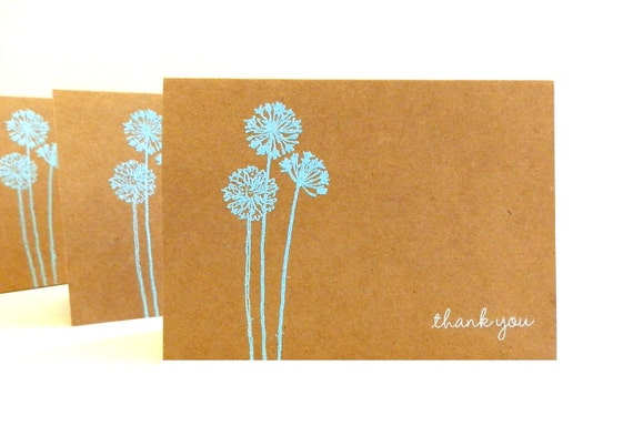 Embossed Kraft Thank You Cards (Set of 5) - Thank You Card Set - Greeting Cards