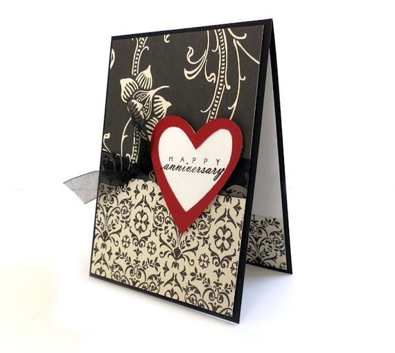 Anniversary Card - 'Happy Anniversary' Handmade Greeting Card