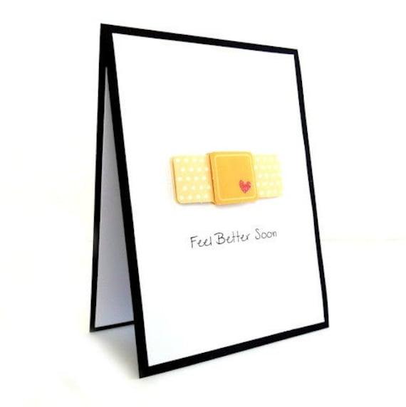 Get Well Card - 'Feel Better Soon' Bandaid Handmade Greeting Card