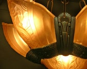 RESERVED FOR KVOLL Art Deco Slip Shade Ceiling Light Fixture 1920s-30s