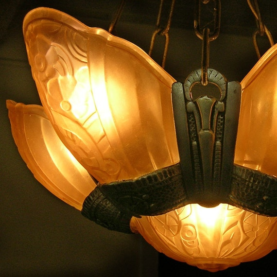 Reserved for kvoll art deco slip shade by atticbarnandcloset for Art nouveau lighting fixtures