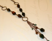 Teal and brown necklace, Teal and brown czech glass bead, Copper chain long necklace
