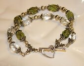 Green bracelet, Olive green and clear glass crystal two-strand bracelet