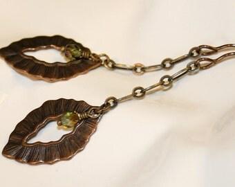 Leaf earrings, Vintaj earrings, Vintaj jewelry, Czech Glass Beads, Olivine