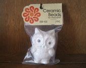 RESERVED FOR overthemountainfarm - Vintage owl figurine ceramic macrame bead