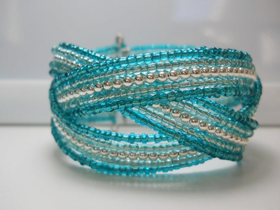 Memory Wire Braided Cuff Bracelet Teal Blue
