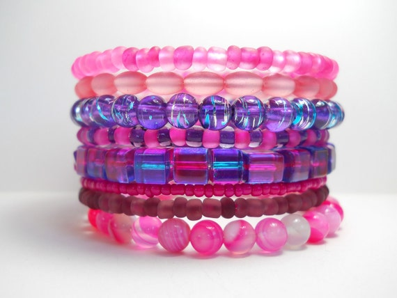 Memory Wire Bracelet Pink Agate and Purple Stacked Beaded Wrap